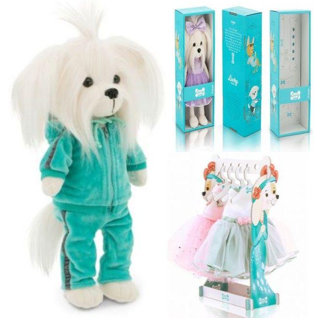 Мягкая игрушка Собака Мальтезе Фитнес Lucky Mimi 35 см Lucky Doggy Оранж LD017