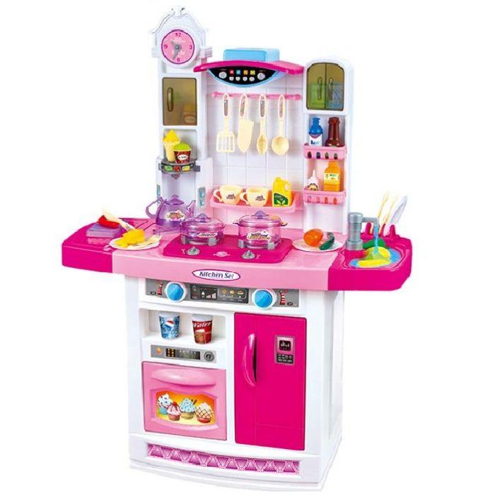 Детская кухня с водой музыкальная 100 см розовая 798B