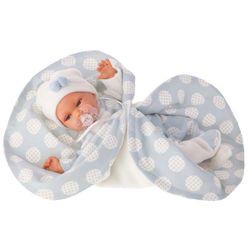 Реалистичная кукла младенец Марселина с голубым одеялом, озвученная 29см 1778B