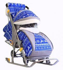Санки-коляска Snow Galaxy Luxe Зимняя ночь Олени синий