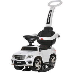 Детская машинка каталка-качалка с ручкой Mercedes Benz свет, звук,  A888AA-M белый
