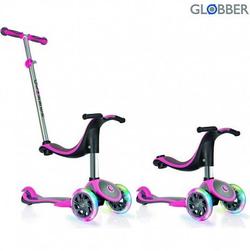 Самокат GLOBBER EVO 4 in 1 PLUS c подножками, с 3 светящимися колесами Pink