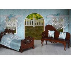 """Шторы, покрывало для кровати, подушки для кукольного домика """"Голубое небо"""" 59645-1"""