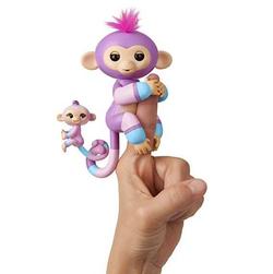 Интерактивная обезьянка с малышом Fingerlings Baby Monkey Mauve