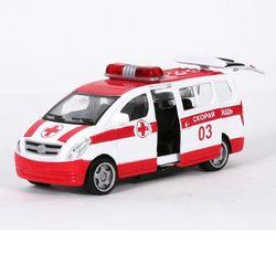 Машина Технопарк Микроавтобус Скорая Помощь свет, звук SL1069-SB-M