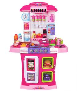 Интерактивная кухня с водой и вытяжкой 95 см, 36 предметов розовая WD-P28